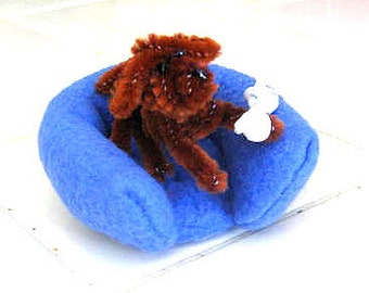 "Whiskey the Dog with Soft Bed and ""Rawhide"" Bone - Chenille Pipe Cleaner Dog - Fundraiser for Vet Bills"