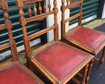 4 antique oak Belgian dining chairs 1930's handcarved & leather seating