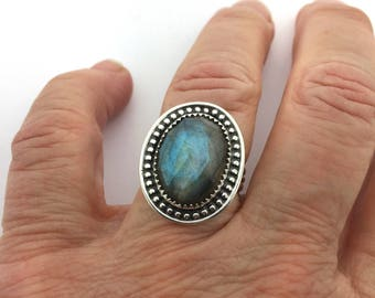 Labradorite Ring, Statement Ring with Labradorite