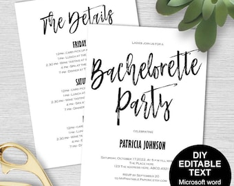 Bachelorette party invites, Bachelorette invitation, Bachelorette party invitation template, Bachelorette itinerary, DIY, printable,modern