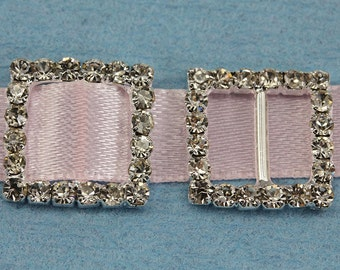 16mm Square Crystal Rhinestone Ribbon Buckles For Card Making And DIY Wedding Invitations - 10 Pieces