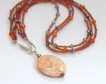 Triple Strand Peach Stone Pendant, Polished Jasper with Seed Beads Czech Glass and Pearls, Original Pendant Design, Easy Front Hook Close