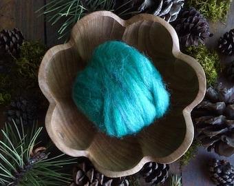Wool roving supply for needle felting, Aqua Heather, 1/2 ounce or 1 ounce, teal wool roving, teal roving, DIY felting, teal felting wool