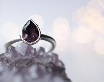 Silver Amethyst statement ring | Amethyst teardrop ring | Silver amethyst ring| Raw amethyst jewelry | Silver Amethyst ring