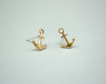 Anchors studs - Anchors  earrings - Tiny gold anchors studs earrings with sterling silver posts
