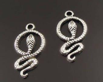 (X 4) antique silver metal snake charm