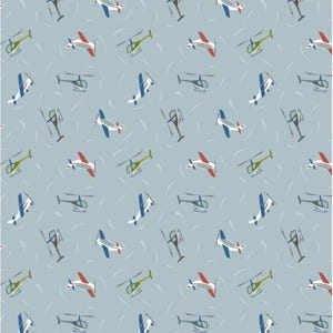 Small Things on the Move from Lewis + Irene - Full or Half Yards of Tiny Airplanes and Helicopters on Light Blue Background