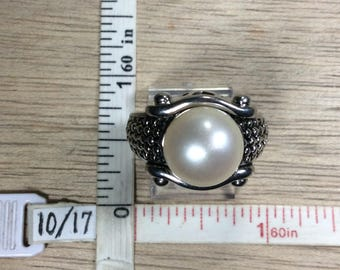 Vintage 925 Sterling Silver 10.5g Ring Size 7 Faux Pearl Used