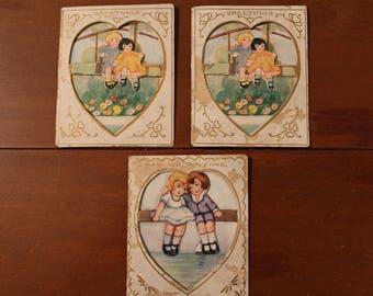 Vintage 1930s  Lot of 3  Die Cut Valentine Valentines Cards