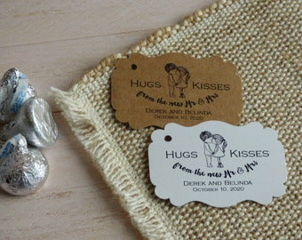 Hugs and Kisses Tag, Hugs and Kisses from Mr and Mrs. Wedding Favor Tag, Personalized Tags. Kraft Thank You tags. Set of 25 to 300 pieces