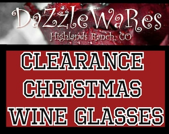 CLEARANCE CHRISTMAS WINES (4 Options See Pictures) Wine Glasses Set of 2 -Hand Beaded- Holiday Gifts -Holiday Decor -Couture-Hostess Gift