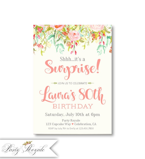 Surprise Party Invitations For Women S 80th Birthday Any
