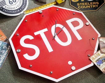 Stop Sign Clock, Street Sign Clock, Stop Sign