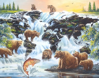Illusion Brown bears, wildlife animal, 36x48 (91 x 122 cm) oils on canvas painting by artist RUSTY RUST / B-109