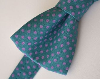 Mens Bowtie, Teal with Purple Dots, Teal Bow Tie, Mens Bow Tie, Groomsmen Bow Tie, Wedding Bow Tie, Gift for Guy