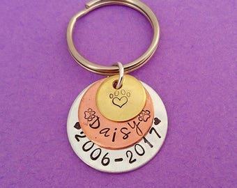 pet memorial keychain, pet memorial gift, pet memorial keyring, loss of a pet keychain, dog memorial, cat memorial, loss of a pet keychain