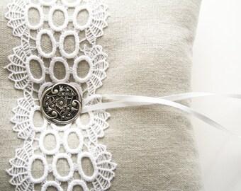 Wedding Ring Pillow, Lace Ring Pillow, Ring Bearer Pillow, Wedding Cushion