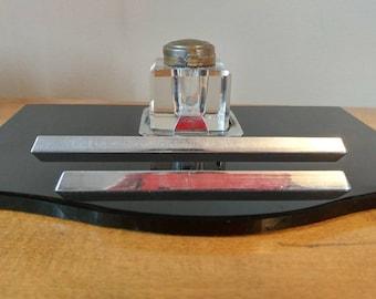 Vintage Art Deco Black and Chrome Inkwell Desk Set
