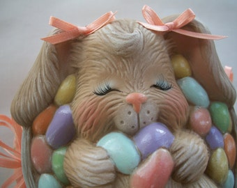 Ceramic Easter bunny,jellybean trinket box,candy dish