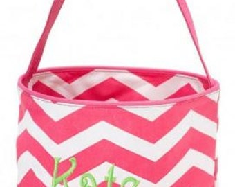 Monogrammed Pink and White Chevron Easter Bucket