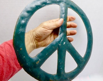 """Give Peace A Chance!!! Rustic 12"""" Diameter Green Metal Peace Sign"""