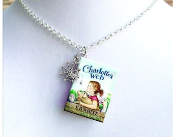Charlotte's Web with Tiny Spider Web Charm - Miniature Book Necklace