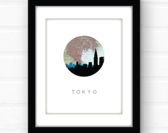Tokyo map art   Tokyo skyline art   city skyline print   Tokyo print   Japan map art   Japan map print   Tokyo Japan map art   Asia home art