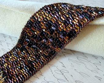 Slinky shimmery gold and purple cuff bracelet