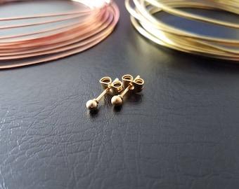 20g Gold 3mm Ball Stud Earrings Minimalist Geometric Gold Ear lobe Cartilage Piercing Studs 316lvm Stainless Steel Titanium IP Earrings
