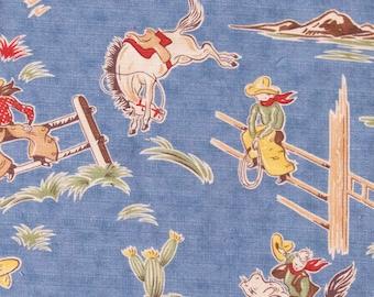 Vintage Blue Barkcloth Cowboy Print Quilting Piece