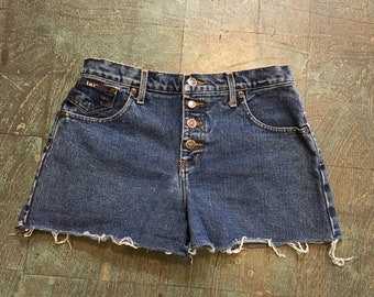 Vintage 90s high waist button fly denim jean shorts by LEI size 9 // stone wash mom jorts cut offs  // grunge festival rocker hipster retro