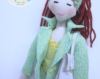 fabric doll handmade cloth doll unique handmade tilda barbie handmade one of a kind doll fun doll soft doll rag doll poupees barbie fabric