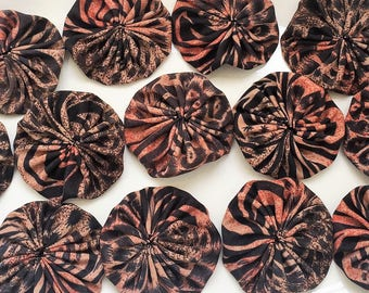 eco friendly polyester satin orange black and brown animal print 2inch fabric yoyos--matching lot of 13--ready to ship