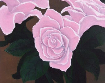 Flower painting,pink roses with green stems and leaves on canvas,acrylic painting