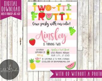 Twotti Frutti Birthday Invitation, Tutti Frutti, Two-tti Frutti, Fruity, 2nd Birthday, Photo - Printable DIY