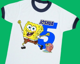Sponge Bob Birthday Ringer Tee. Personalized Birthday Shirt with Name, Age or Number. 1st 2nd 3rd 4th 5th 6th Birthday. (25056)