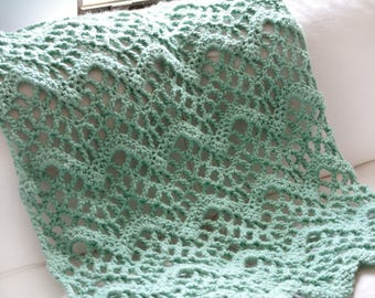 Chunky Lacy Chevron Afghan - PDF Crochet Pattern - Instant Download