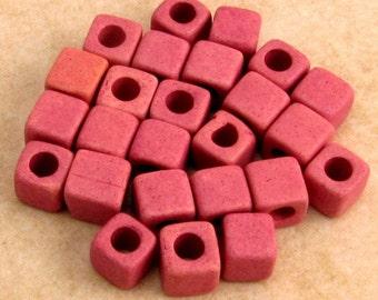 Greek Ceramic Square Beads, 5.5mm, Black Raspberry Creme Pink, Mykonos 25-Pieces M215