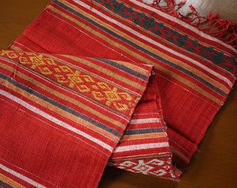 Traditional Lao cotton textile - asian tribal cotton textile - handwoven traditional Lao scarf cotton weaving