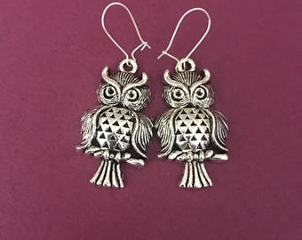 Owl earrings Jewelry, clip on costume jewelry, ships Quick