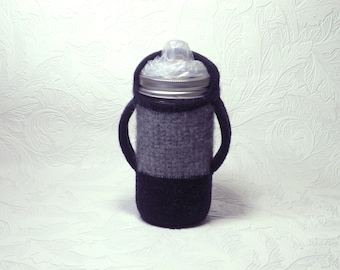 Quilted Canning Jar Sippy cup with cozy - 12oz