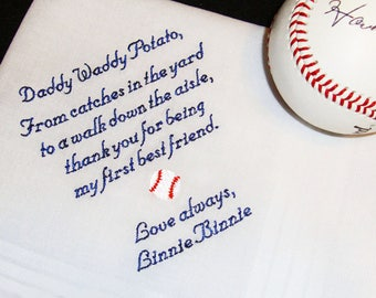 Embroidered Handkerchief for Father of the Bride - Custom Personalized Handkerchief - Men's Personalized Handkerchief - FREE Gift Box