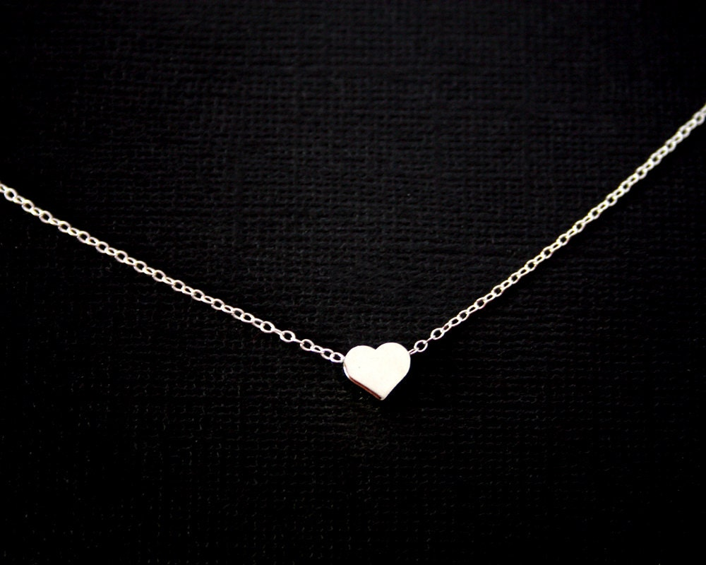 Initial Single Heart Necklace Sterling SilverGold Filled