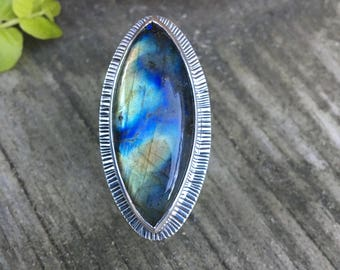 Large Labradorite Sterling Silver Ring