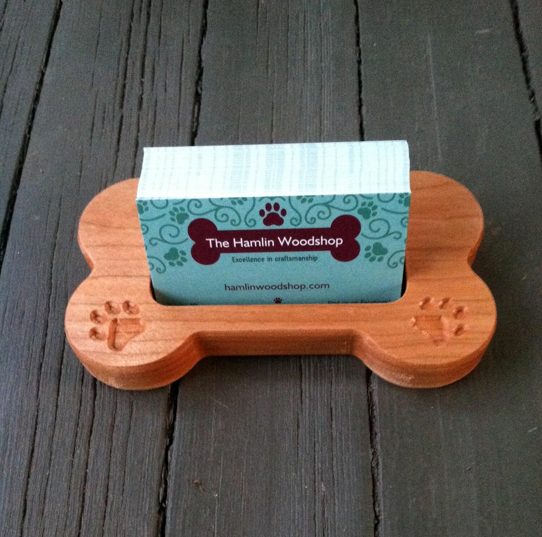 Business Card Holder Carved Wood Dog Bone Dog Card Holder