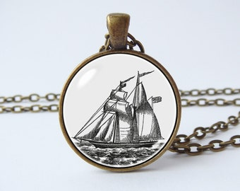 Ship necklace Schooner pendant Ship jewelry Pirate jewelry Pirate boat Nautical pendant Ocean jewelry Sailing necklace Nautical jewelry