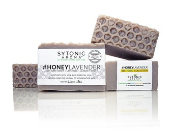 HONEY LAVENDER SOAP - Honey + Lavender + Alkanet Root (6.0 to 6.3 oz) - All Natural, Handmade, Cold Process Soap