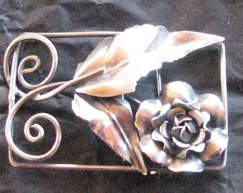 Vintage Rose Brooch in Rectangular Frame signed Sterling