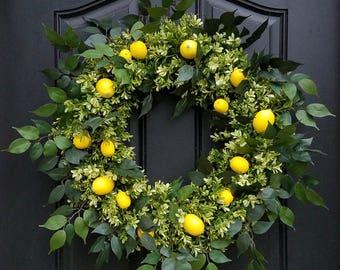 Lemon Wreath, Yellow Lemons Wreath, Boxwood and Lemons, Front Porch Wreaths, Summer Lemon Wreath, Best Wreaths for Summer, Etsy Wreaths