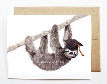 Graduation Card - Sloth, Grad Card, College Graduation, High School Grad, Congrats Grad, Congrats Card, Cute Animal Card, Sloth Card